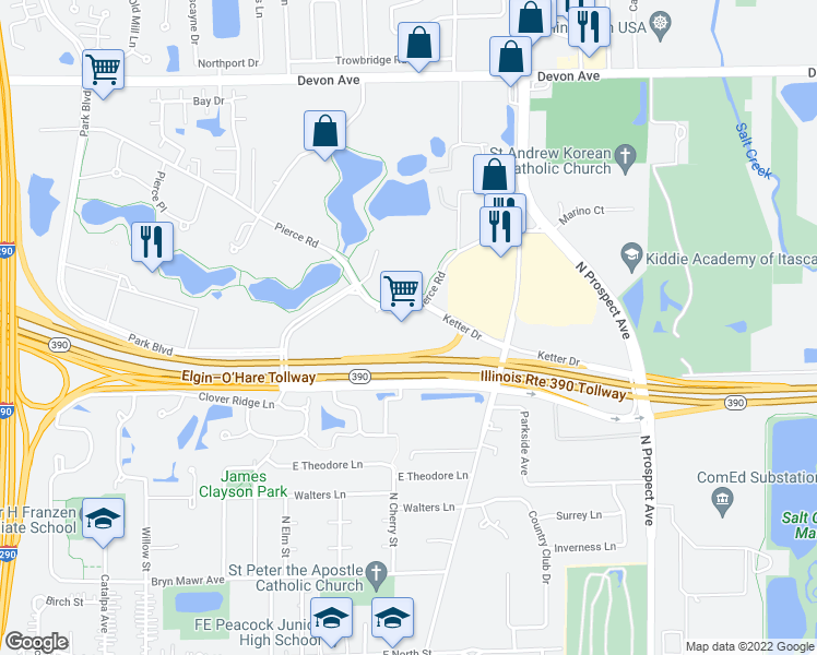 map of restaurants, bars, coffee shops, grocery stores, and more near 300 Park Boulevard in Itasca