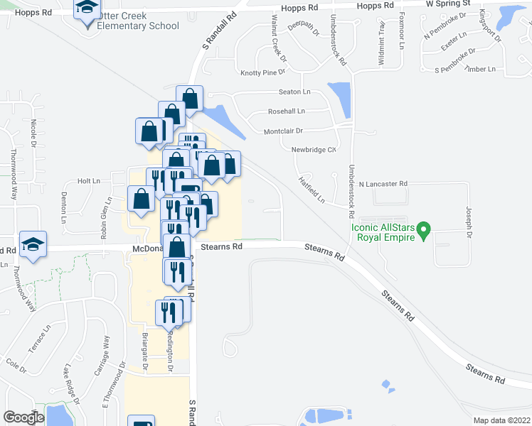 map of restaurants, bars, coffee shops, grocery stores, and more near 350 Gyorr Avenue in Elgin