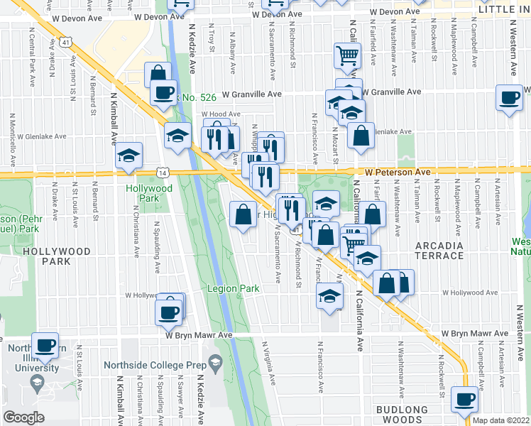 map of restaurants, bars, coffee shops, grocery stores, and more near 5924 North Lincoln Avenue in Chicago