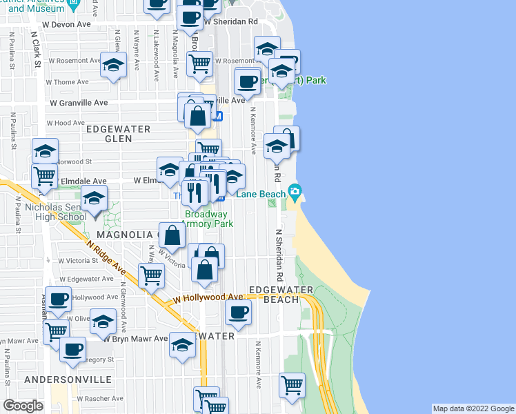 map of restaurants, bars, coffee shops, grocery stores, and more near 5918 North Kenmore Avenue in Chicago