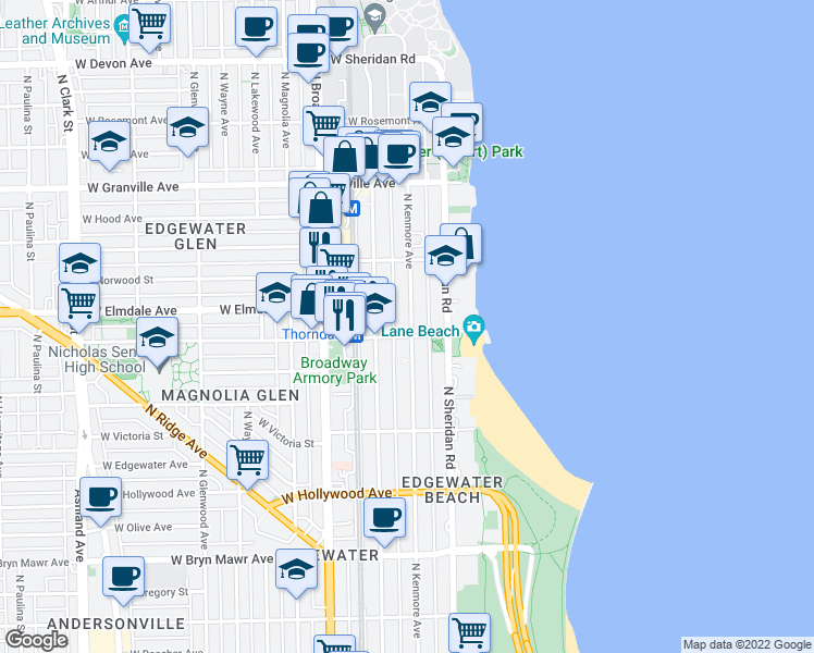map of restaurants, bars, coffee shops, grocery stores, and more near 5952 North Kenmore Avenue in Chicago