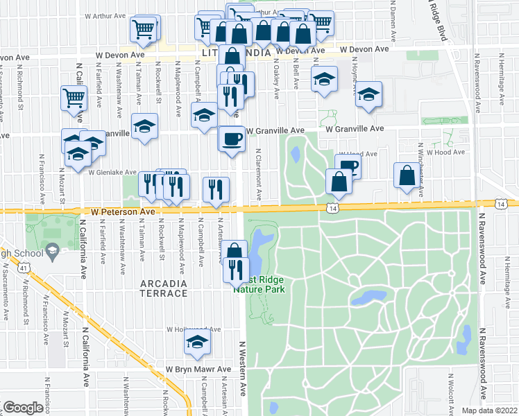 map of restaurants, bars, coffee shops, grocery stores, and more near 6005 North Claremont Avenue in Chicago