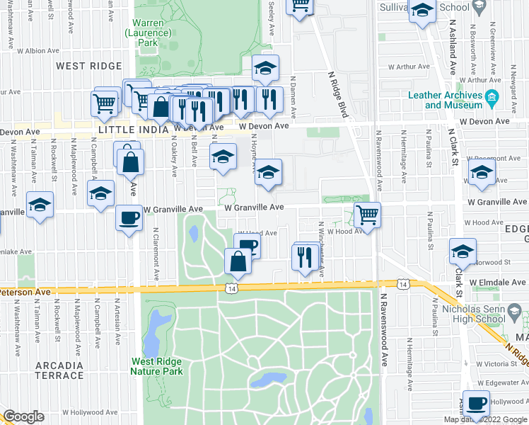map of restaurants, bars, coffee shops, grocery stores, and more near 6161 North Hoyne Avenue in Chicago