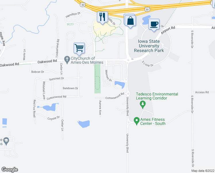 map of restaurants, bars, coffee shops, grocery stores, and more near 3130 Turnberry Court in Ames