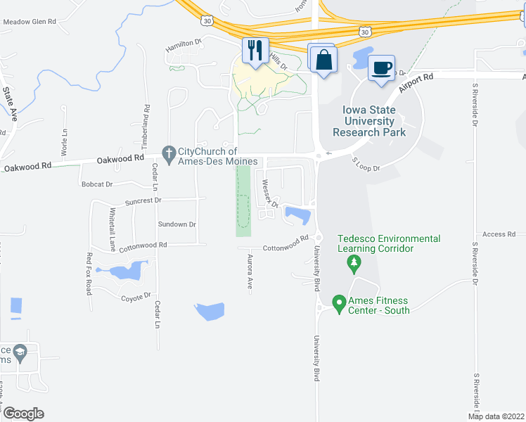 map of restaurants, bars, coffee shops, grocery stores, and more near 3141 Turnberry Court in Ames