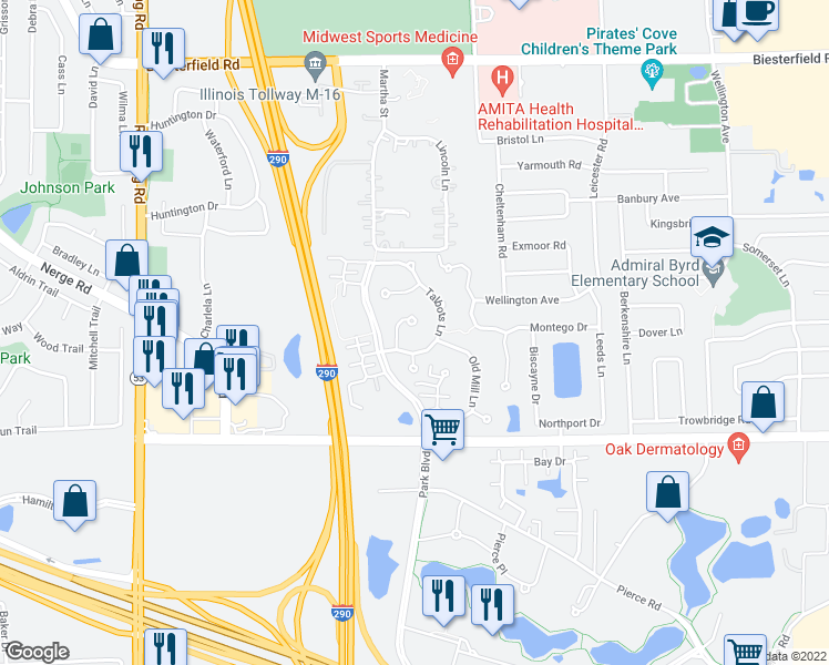 map of restaurants, bars, coffee shops, grocery stores, and more near 838 Spring Creek Court in Elk Grove Village