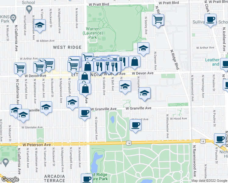 map of restaurants, bars, coffee shops, grocery stores, and more near 2229 West Rosemont Avenue in Chicago