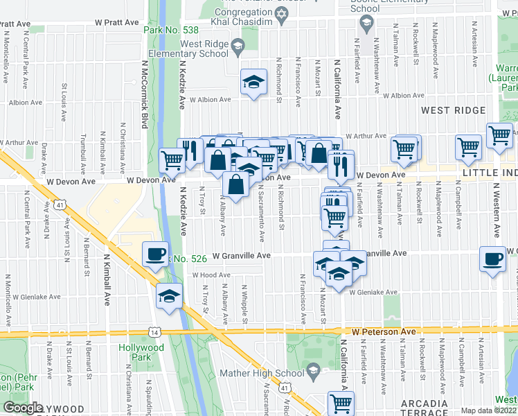 map of restaurants, bars, coffee shops, grocery stores, and more near 6320 North Sacramento Avenue in Chicago
