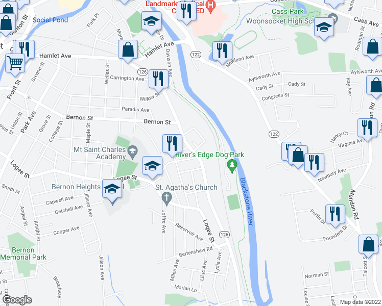map of restaurants, bars, coffee shops, grocery stores, and more near 559 Manville Road in Woonsocket