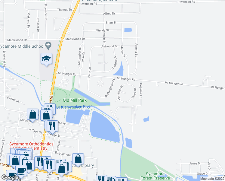 map of restaurants, bars, coffee shops, grocery stores, and more near 934 Buckingham Dr in Sycamore