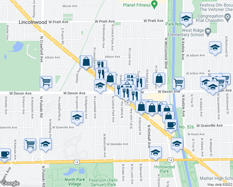 map of restaurants, bars, coffee shops, grocery stores, and more near 6374 North Lincoln Avenue in Chicago