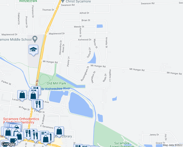 map of restaurants, bars, coffee shops, grocery stores, and more near 949 Hamilton Drive in Sycamore
