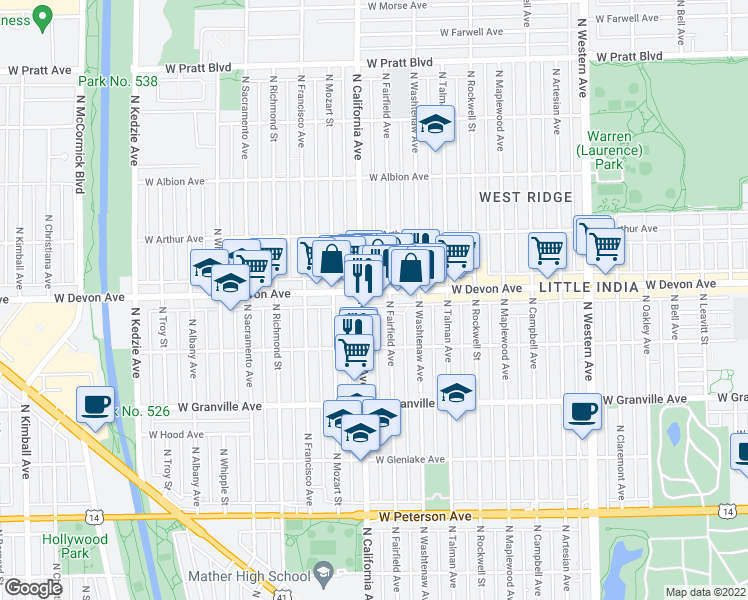map of restaurants, bars, coffee shops, grocery stores, and more near 2751 West Devon Avenue in Chicago