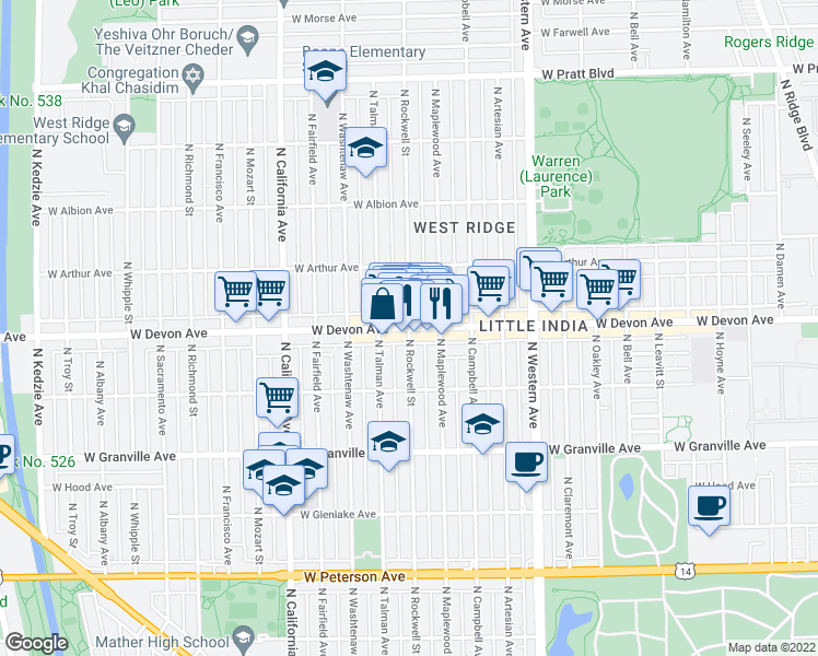 map of restaurants, bars, coffee shops, grocery stores, and more near W Devon Ave & N Rockwell St in Chicago