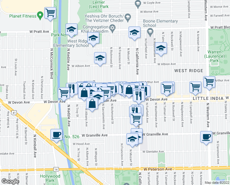 map of restaurants, bars, coffee shops, grocery stores, and more near 6421 North Richmond Street in Chicago