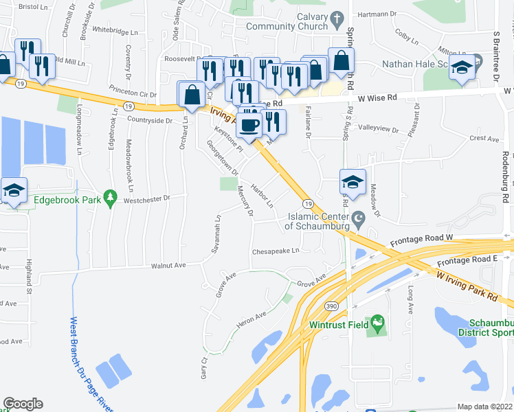 map of restaurants, bars, coffee shops, grocery stores, and more near 1463 Mercury Drive in Schaumburg