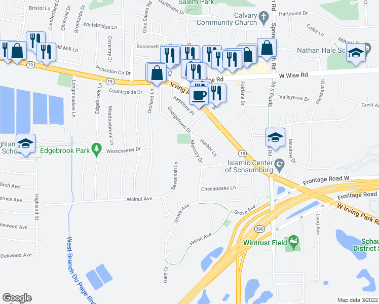map of restaurants, bars, coffee shops, grocery stores, and more near 1421 Carolina Court in Schaumburg