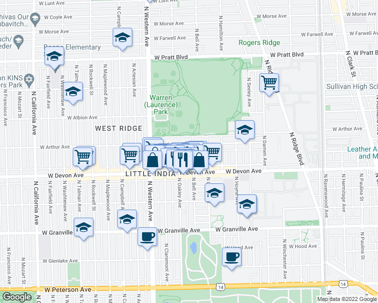 map of restaurants, bars, coffee shops, grocery stores, and more near 6444 North Bell Avenue in Chicago