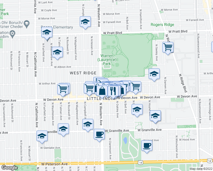 map of restaurants, bars, coffee shops, grocery stores, and more near 6450 North Claremont Avenue in Chicago