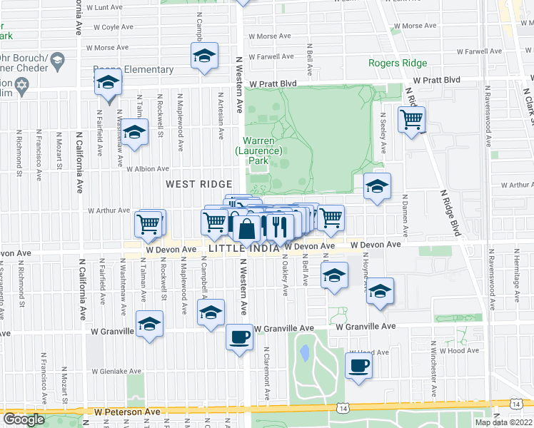 map of restaurants, bars, coffee shops, grocery stores, and more near 6453 North Claremont Avenue in Chicago