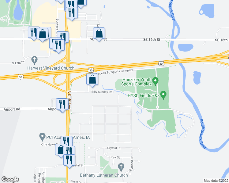 map of restaurants, bars, coffee shops, grocery stores, and more near 599 Billy Sunday Road in Ames
