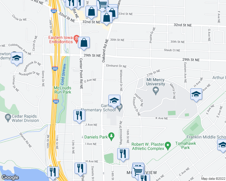 map of restaurants, bars, coffee shops, grocery stores, and more near 1 Oakland Road Northeast in Cedar Rapids
