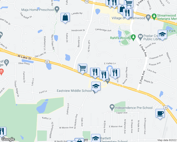 map of restaurants, bars, coffee shops, grocery stores, and more near 561 Deere Park Circle in Bartlett