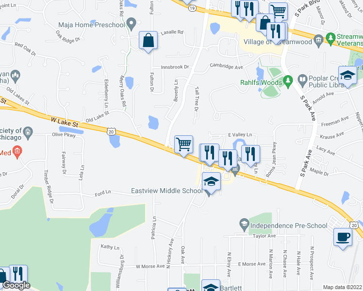 map of restaurants, bars, coffee shops, grocery stores, and more near 562 Deere Park Circle in Bartlett
