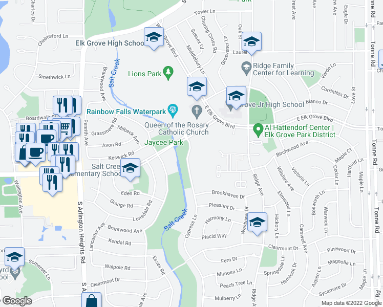 map of restaurants, bars, coffee shops, grocery stores, and more near 921-939 Cypress Lane in Elk Grove Village