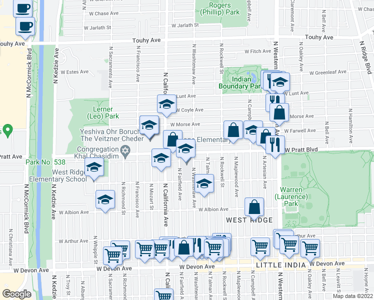 map of restaurants, bars, coffee shops, grocery stores, and more near 6772-6798 North Washtenaw Avenue in Chicago