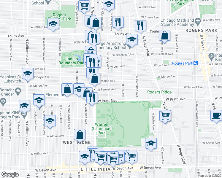 map of restaurants, bars, coffee shops, grocery stores, and more near 2242 West Farwell Avenue in Chicago