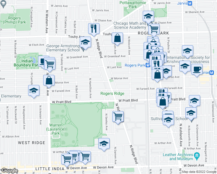 map of restaurants, bars, coffee shops, grocery stores, and more near 6900 North Ridge Boulevard in Chicago