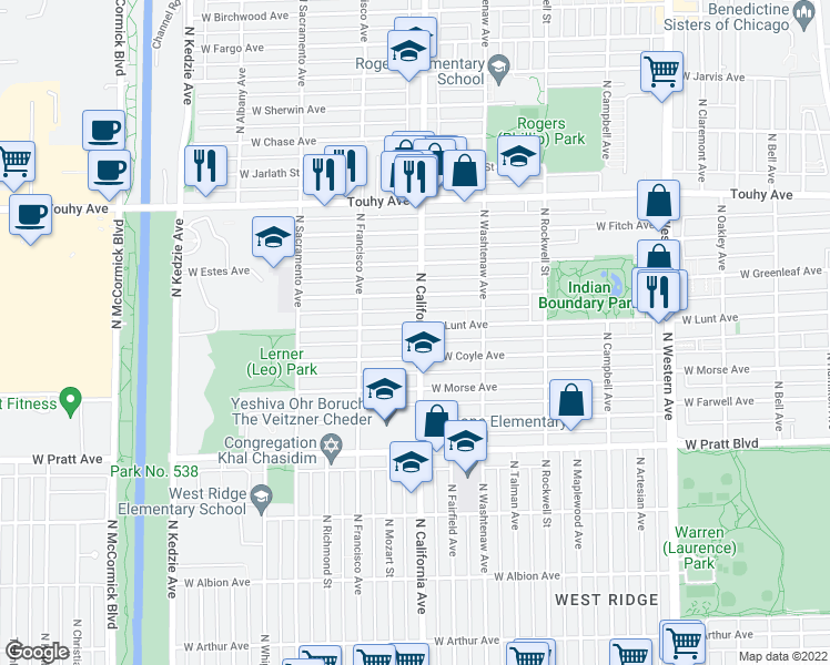 map of restaurants, bars, coffee shops, grocery stores, and more near 2817 West Greenleaf Avenue in Chicago
