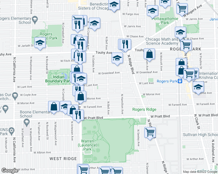 map of restaurants, bars, coffee shops, grocery stores, and more near 6973 North Bell Avenue in Chicago