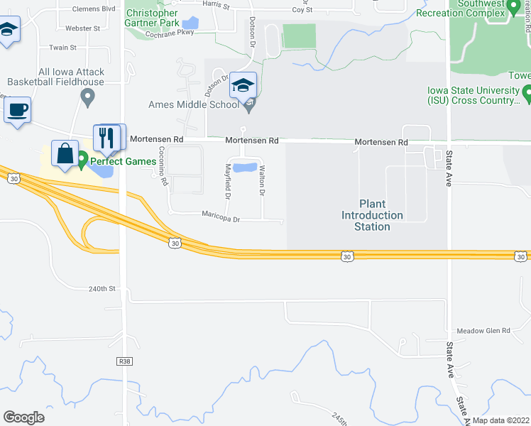 map of restaurants, bars, coffee shops, grocery stores, and more near 1428 Walton Drive in Ames