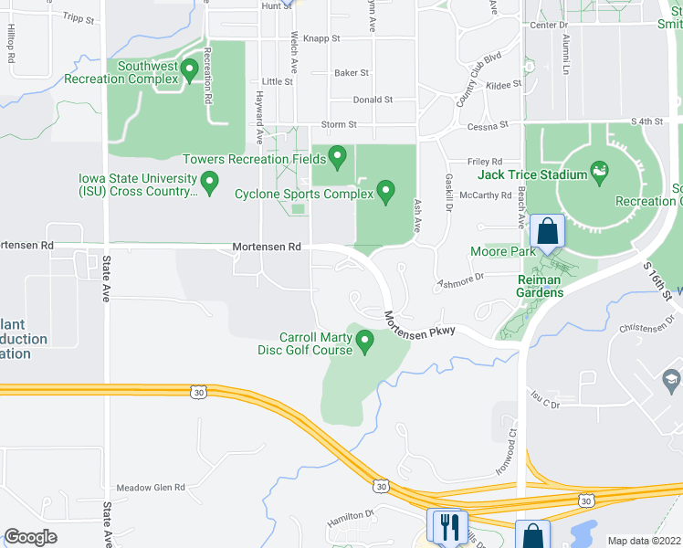 map of restaurants, bars, coffee shops, grocery stores, and more near 2310 Mortensen Parkway in Ames
