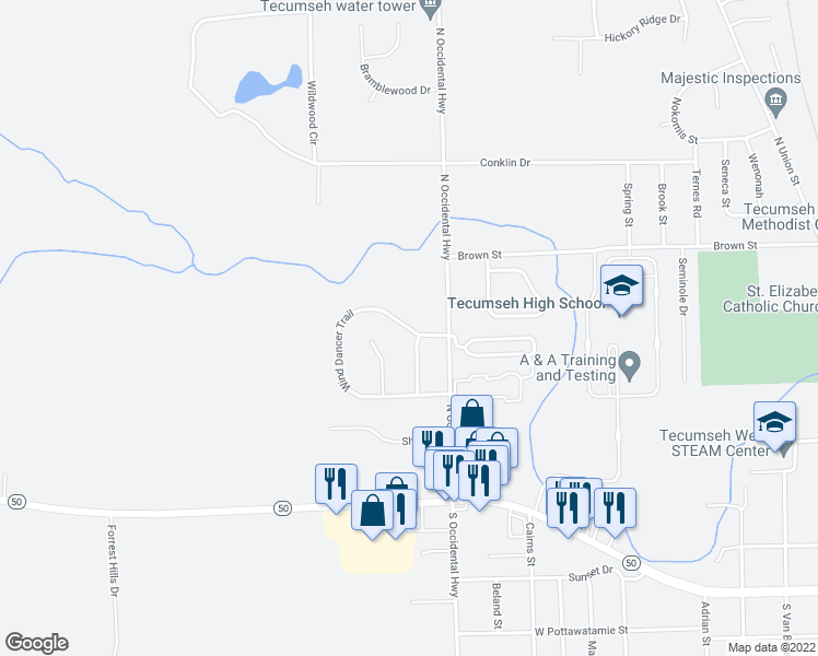 map of restaurants, bars, coffee shops, grocery stores, and more near Wind Dancer Trail in Tecumseh