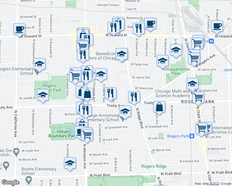 map of restaurants, bars, coffee shops, grocery stores, and more near 7241 North Bell Avenue in Chicago