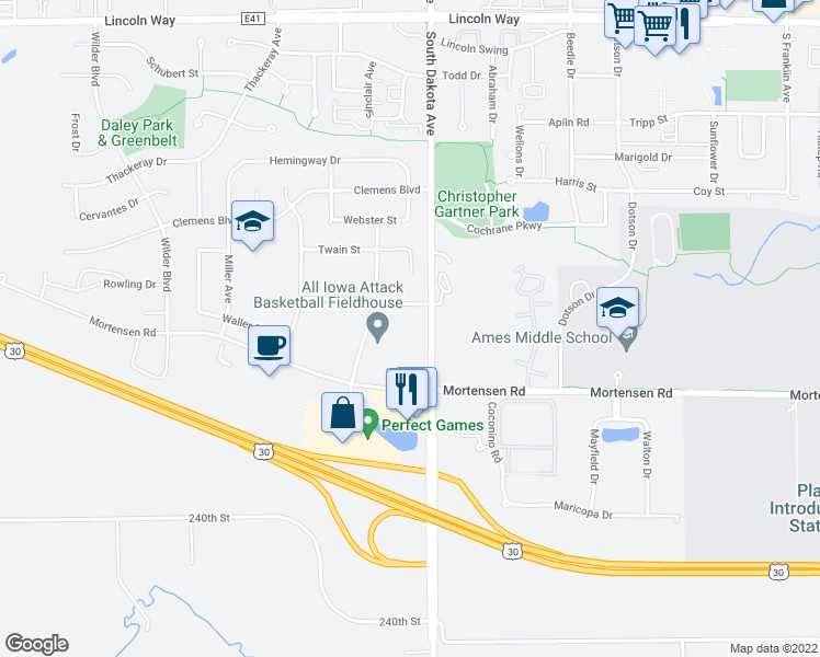 map of restaurants, bars, coffee shops, grocery stores, and more near 1011 South Dakota Avenue in Ames