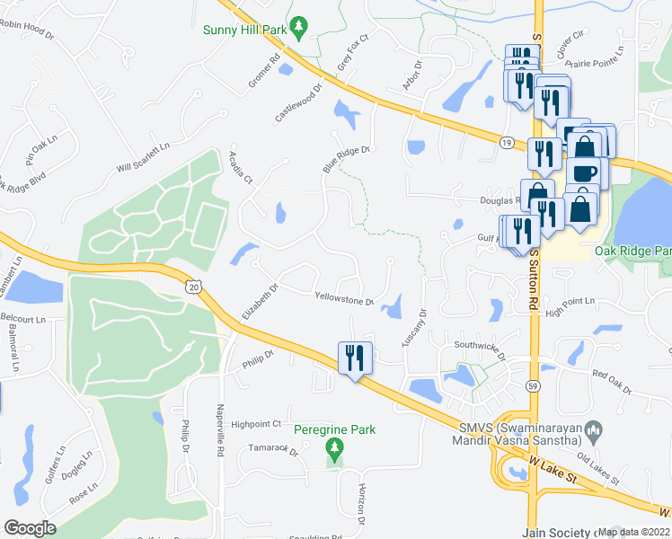 map of restaurants, bars, coffee shops, grocery stores, and more near 922 Kings Canyon Drive in Streamwood
