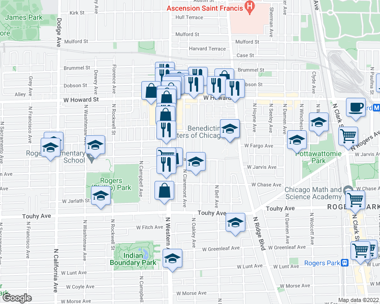 map of restaurants, bars, coffee shops, grocery stores, and more near 7411 North Claremont Avenue in Chicago