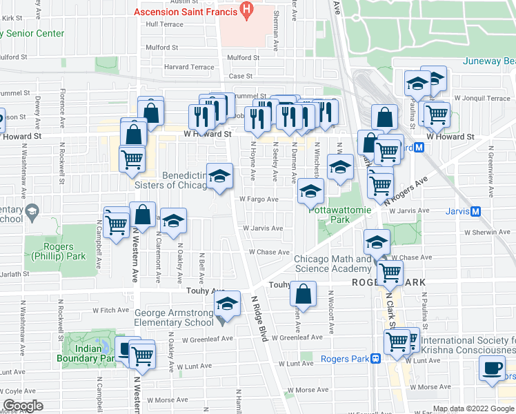 map of restaurants, bars, coffee shops, grocery stores, and more near 7403 North Hoyne Avenue in Chicago