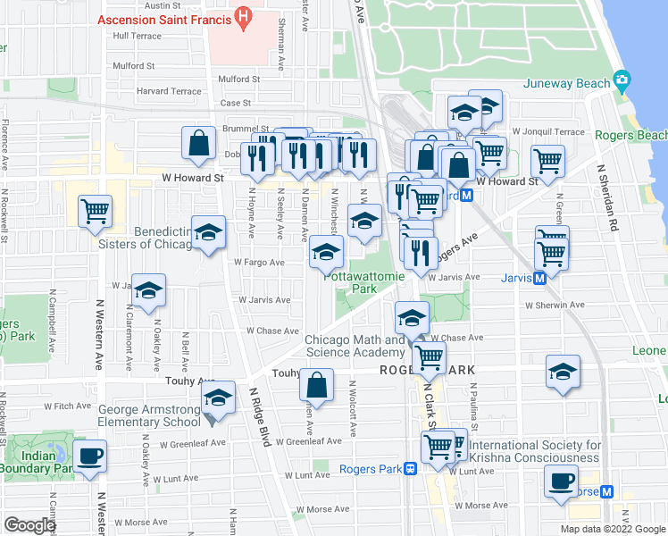 map of restaurants, bars, coffee shops, grocery stores, and more near 7371 North Winchester Avenue in Chicago