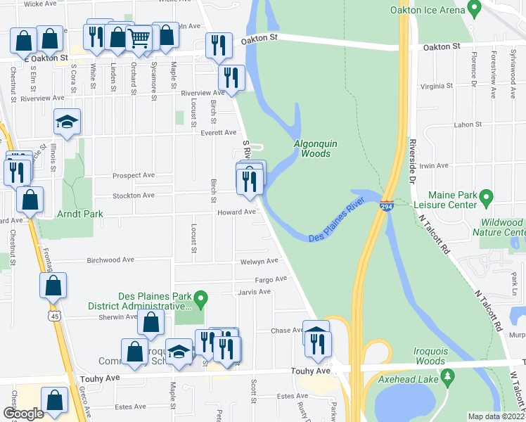 map of restaurants, bars, coffee shops, grocery stores, and more near Des Plaines River Rd & Howard Ave in Des Plaines