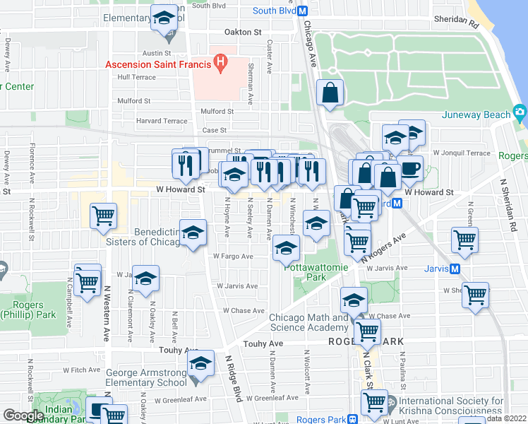 map of restaurants, bars, coffee shops, grocery stores, and more near 7514 North Damen Avenue in Chicago