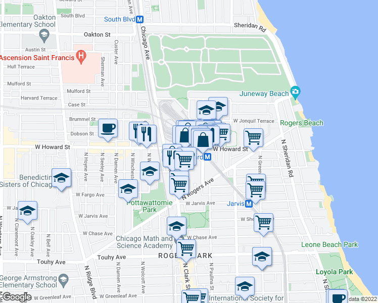 map of restaurants, bars, coffee shops, grocery stores, and more near 1731 Howard Street in Chicago