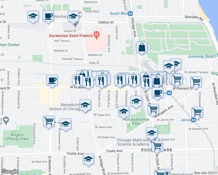 map of restaurants, bars, coffee shops, grocery stores, and more near W Howard St & N Seeley Ave in Chicago
