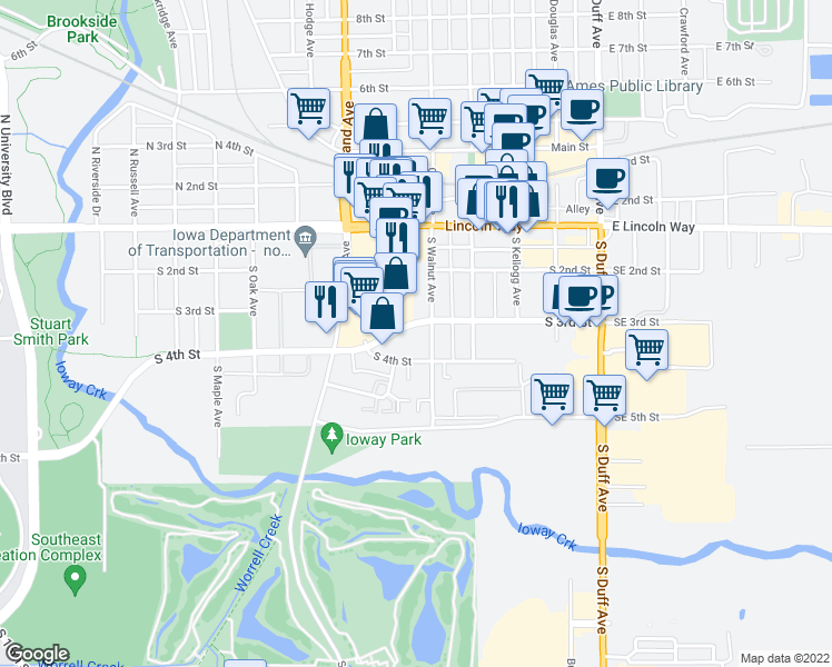 map of restaurants, bars, coffee shops, grocery stores, and more near 512 South 3rd Street in Ames