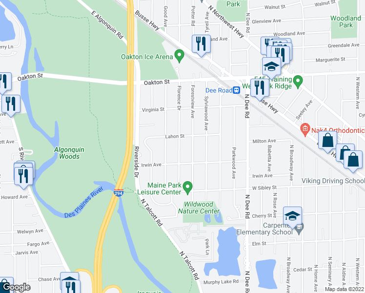 map of restaurants, bars, coffee shops, grocery stores, and more near 729 Florence Drive in Park Ridge