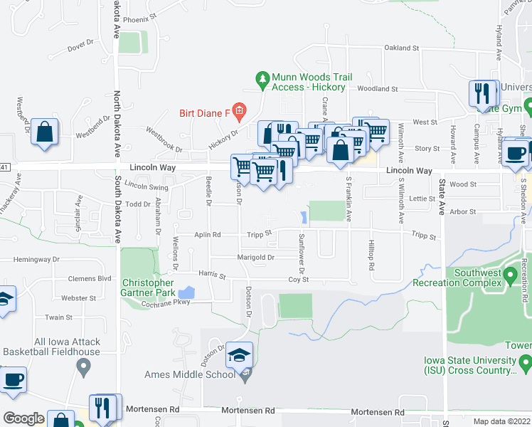 map of restaurants, bars, coffee shops, grocery stores, and more near 3815 Tripp Street in Ames